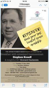 Stephen Koseff and insightful MC Howard Sackstein