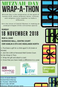 Mitzvah Day is on the 18th November so Join the Union of Jewish of Women and help wrap presents @ Nor wood Mall