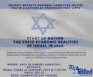 Telfed's Netanya Regional Committee invites you to a lecture by professor Paul Liptz