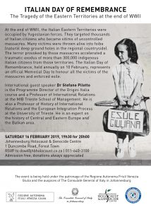 Italian day of remembrance @ Johannesburg Holocaust center