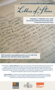 Letters of Stone , Exhibition Opening @ Johannesburg Holocaust center
