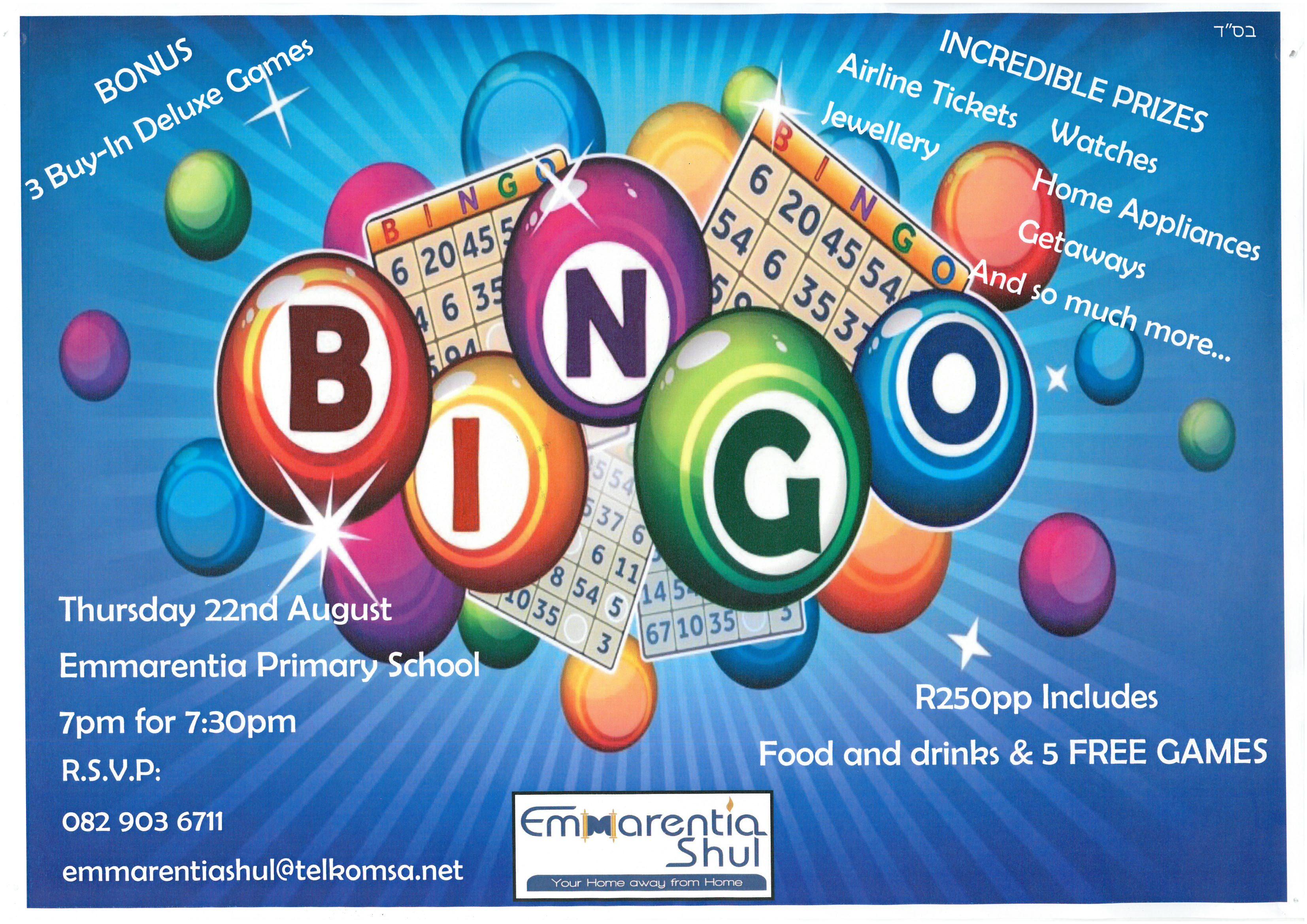 Bingo event @ Emmarentia Shul