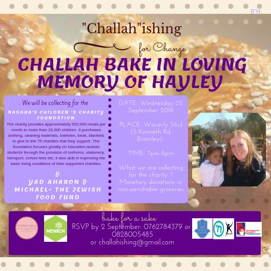 Challah bake in loving memory of Hayley