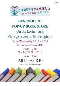 The Jewish Women's Benevolent is having a pop up book store, all books are R10 @ On the Kosher Strip